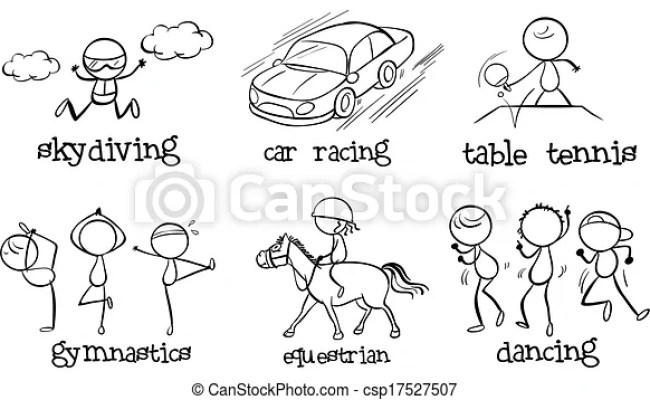Set Of Indoor And Outdoor Activities Illustration Of The