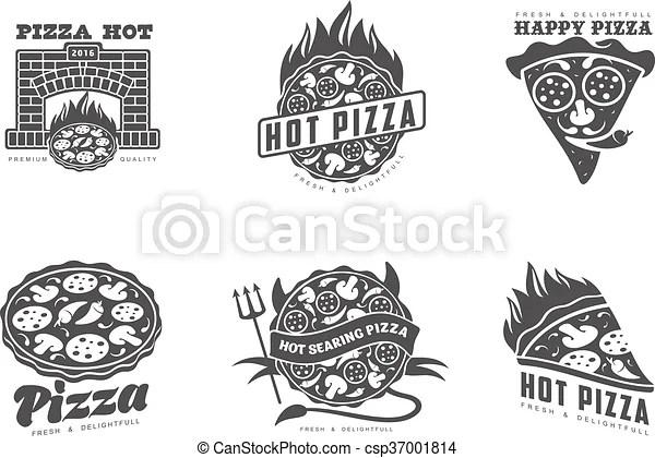 Set of monochrome pizza logos. Logos pizza, fast food