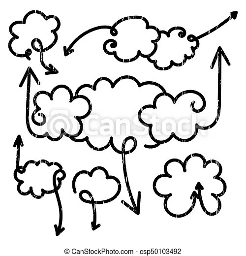 Set of speech bubbles with arrows. empty cloud citation