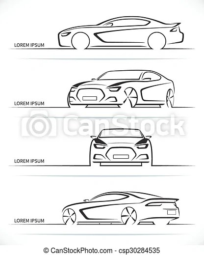 Set Of Vector Sports Car Silhouettes Set Of Sports Car