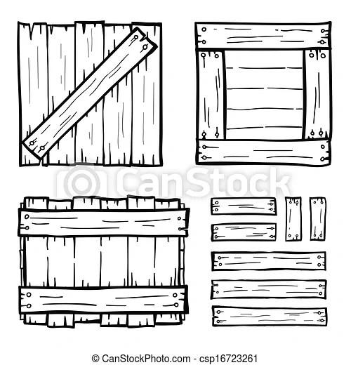 Set of wooden box doodles.
