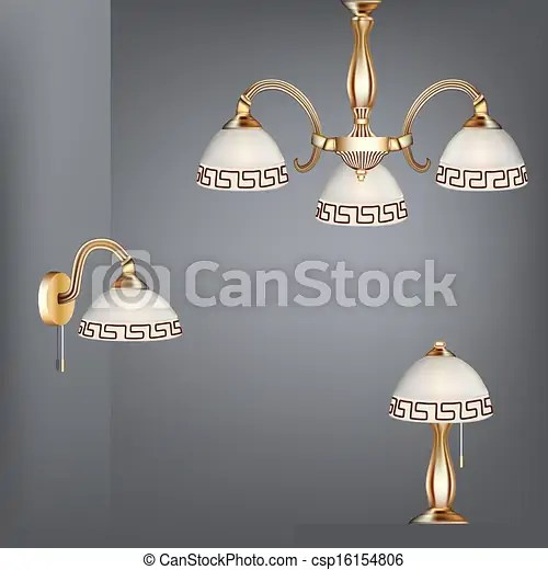 Illustration set table lamp chandelier and sconces in antique style.