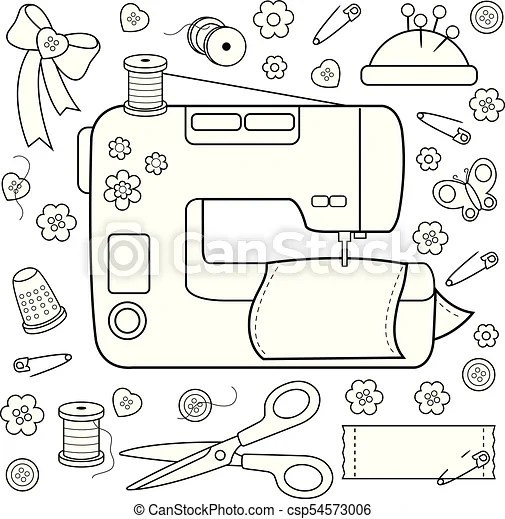 Sewing project tools and equipment. vector coloring page
