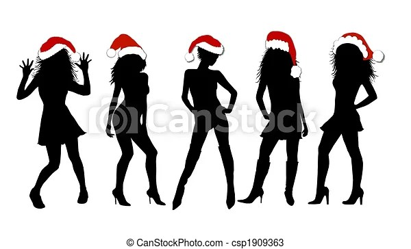sexy christmas girls isolated