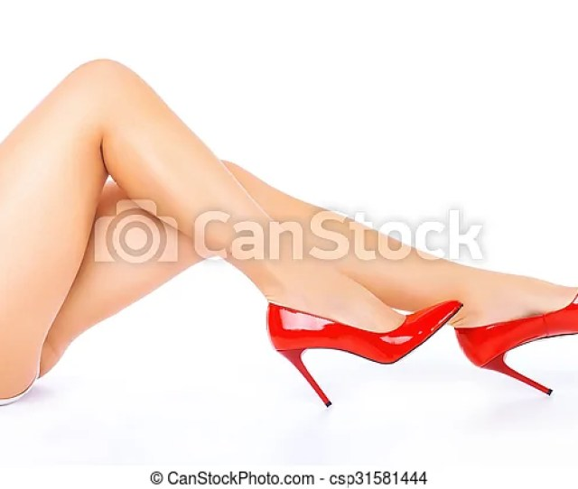 Sexy Legs In Red High Heels On White Background Csp31581444