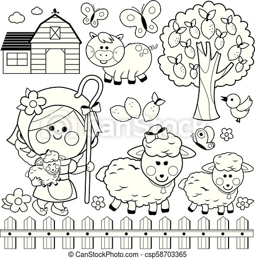 Shepherdess girl and animals at the farm. vector black and