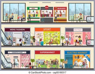 mall shopping center clipart clip vector clothing interior drawing building illustrations drawings eps canstockphoto icon