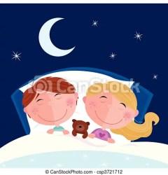 sleeping clipart boy sleep siblings illustration cartoon drawing vector bed children cute moon stars clip drawings sky behind illustrations eps