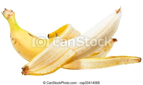 Side view of peeled yellow banana isolated on white background.