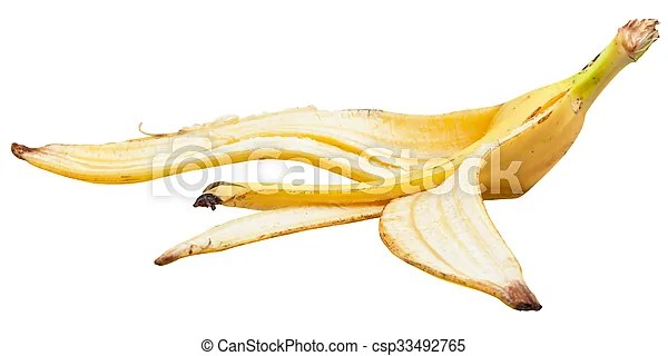 Side view of ripe banana skin isolated on white background.