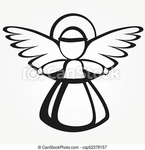 Silhouette of the christmas angel. Christmas angel with