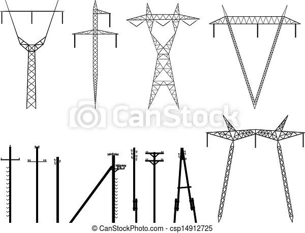 Silhouettes of pylons transmission . Set of vector