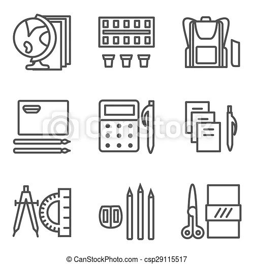 Simple line vector icons for school subjects. Simple line