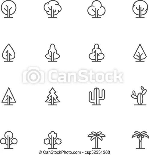 Simple lineart trees icons. vector landscape line symbols