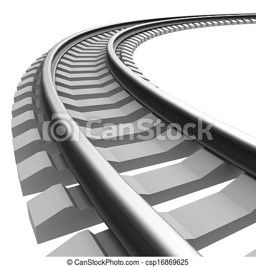 Single curved railroad track isolated clip art Search