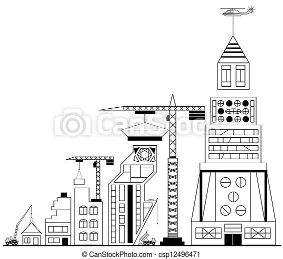 Site building under construction stock illustrations