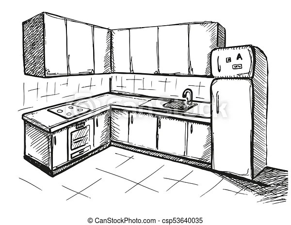 Sketch cuisine. plan kitchen. vector illustration in a