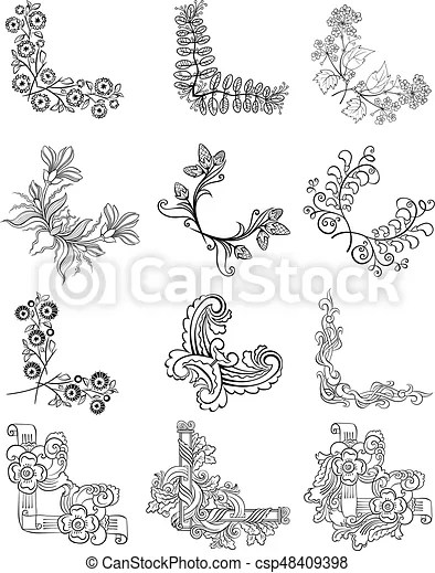 sketch decorative floral corner