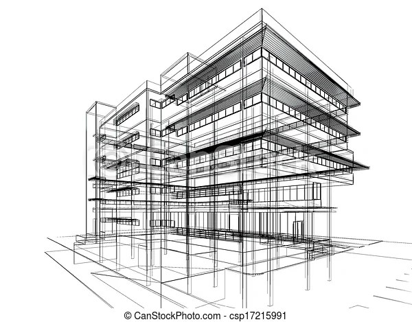 Perspective sketch design of building.