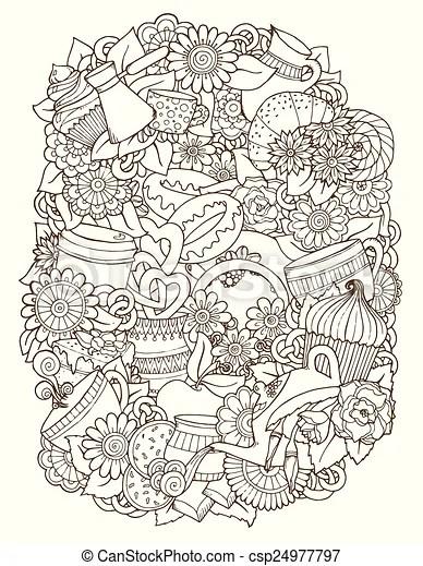 Breakfast Doodles : breakfast, doodles, Sketch, Doodles., Coffee,, Background., Coffee, Sketchy, Notebook, Hand-drawn, Vector, Illustration., CanStock