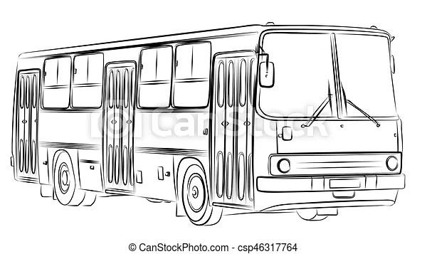 Sketch of bus. A sketch of passenger bus.