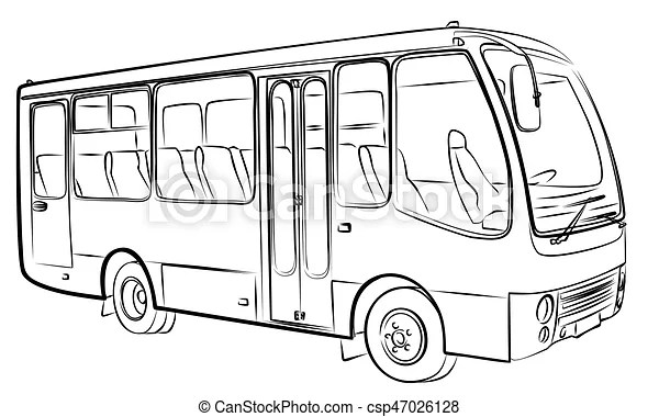Sketch of bus. A sketch of a large passenger bus.