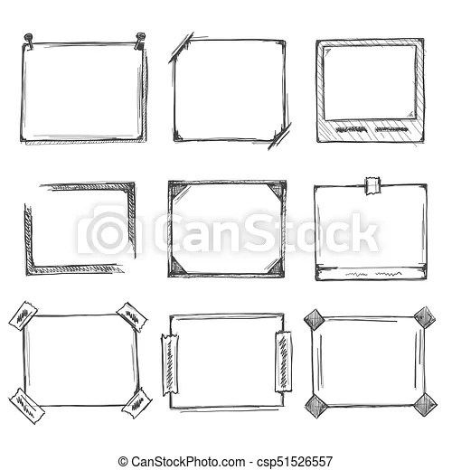 Sketch of hand drawn frame set. Sketch of hand drawn frame