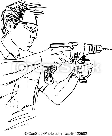 Sketch of manual worker with electric drill vector