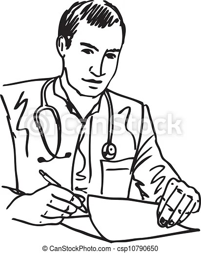 Sketch of medical doctor with stethoscope sitting at a