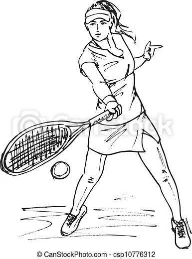 Sketch of woman with tennis racket. vector illustration.