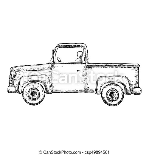 Sketch pick-up truck. Sketch illustration of pick-up truck