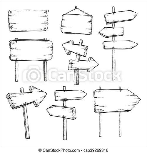Sketch set of signposts and signboards. Sketch set of