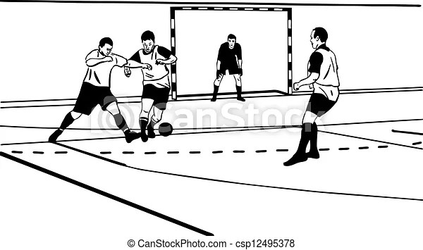 A sketch sporsmeny play football in the gym.