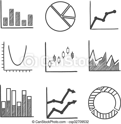 Sketch style icons of business charts and graphs. Business