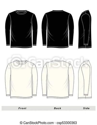 Long Sleeve Shirt Vector : sleeve, shirt, vector, Sketch, T-shirt, Sleeve, Blank,, Black, White., Front,, Back,, Side,, White,, CanStock