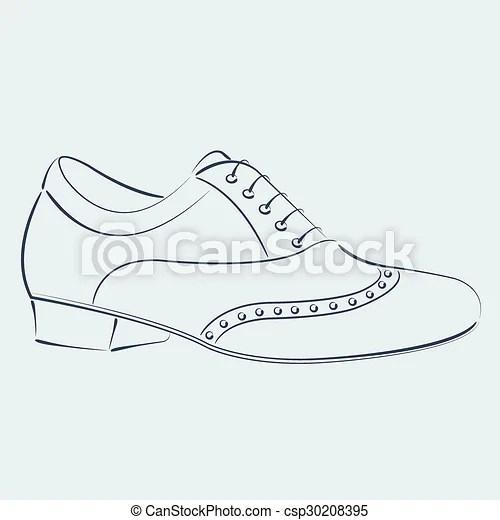 Sketched man s shoe. Elegant sketched man s shoe
