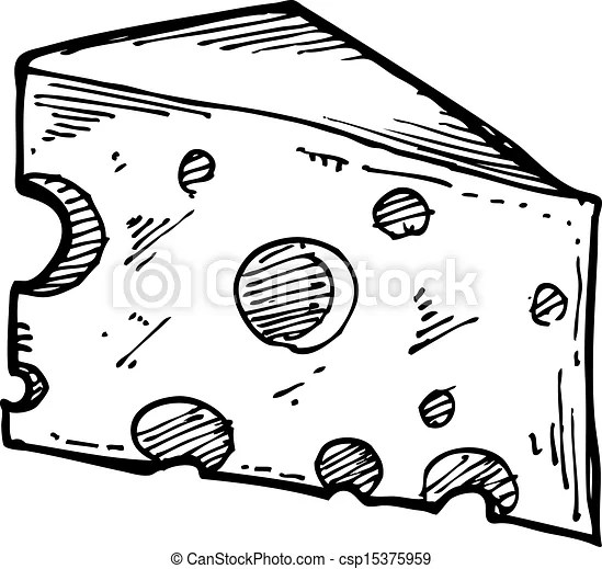 Sketchy cheese slice clipart vector Search Illustration
