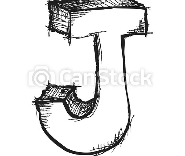 Sketchy Hand Drawn Letter J Isolated On White Csp