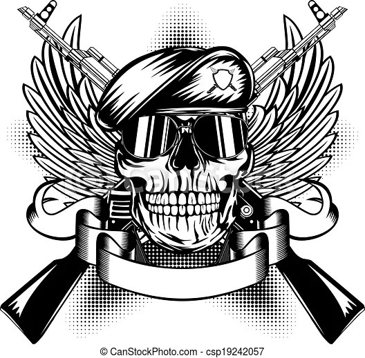skull in beret and