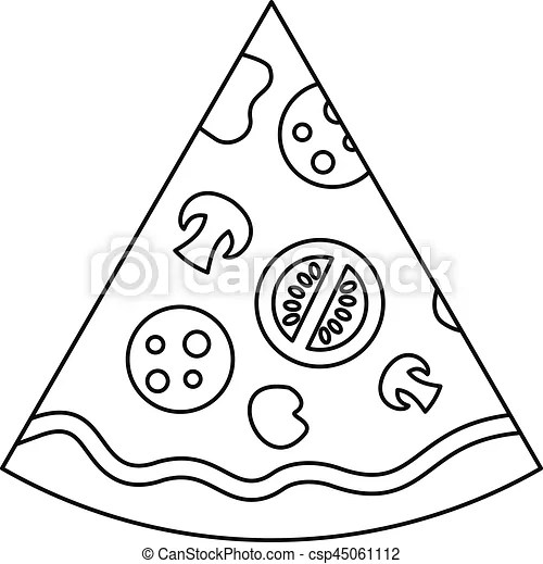 Slice of pizza icon, outline style. Slice of pizza icon