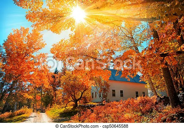 Vermont Fall Wallpaper Small Church In Typical New England Town With Fall Foliage