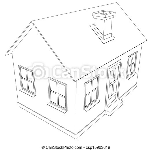 Small house. wire-frame building on the white background