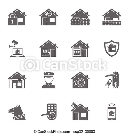 Smart home security system black icons set. Home security