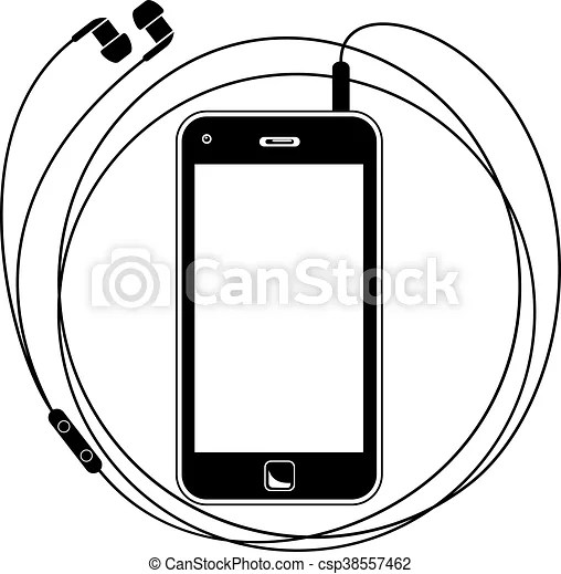 Simple vector illustration of a smart phone with earphones