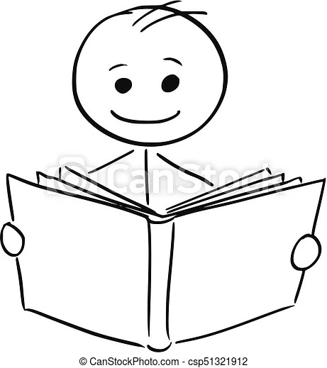 Smiling man reading a book. Cartoon stick man illustration