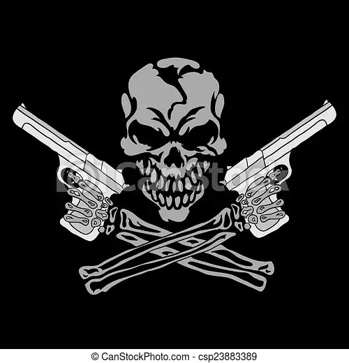 skull gun stock photo