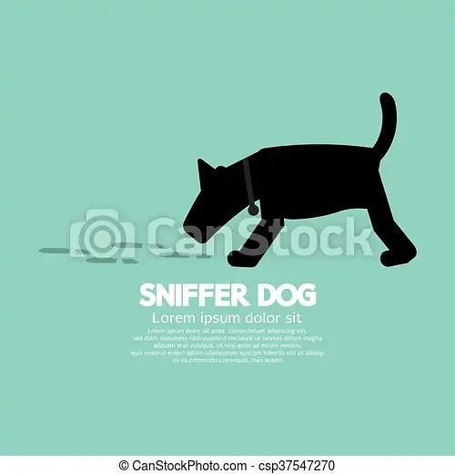 Sniffer dog symbol. Sniffer dog smell footprint on ground vector illustration.