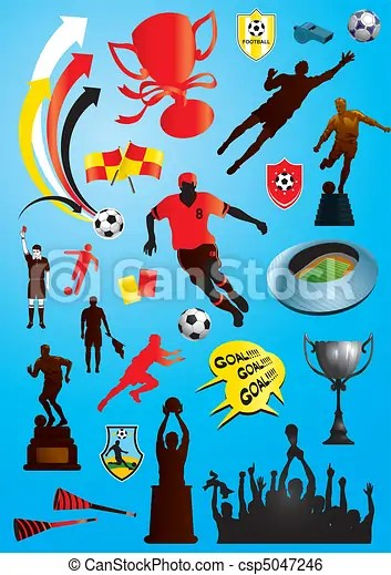 Soccer Collage : soccer, collage, Soccer, Collage., Vector, Collage, Football, Designs., CanStock