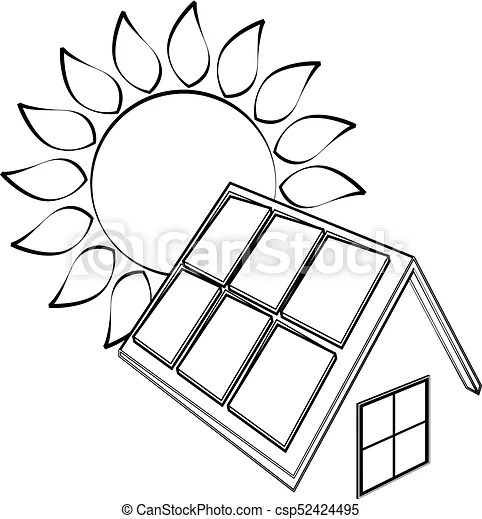 Solar panels and sun silhouette. Sun and solar panels for