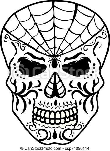 Spider web sugar skull. Sugar skull day of the dead and